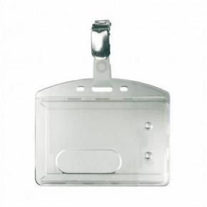 Porte badge rigide 2 faces avec clips métal