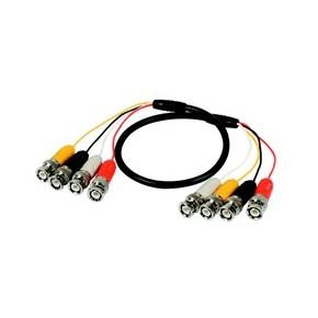 Câble établi multiple de 2m de longueur avec connecteurs mâles BNC dans les externes, 4 liens coaxiaux