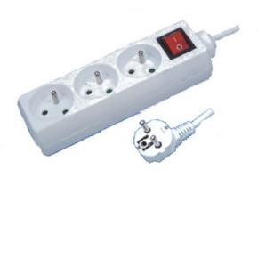 Multiprise 2P+T 3 prises avec interrupteur - 1.5 m