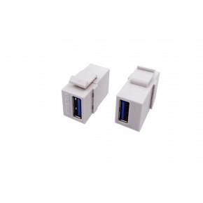 Keystone plastique blanc USB3.0 type A F / A F