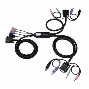 KVM Pocket 2 ports VGA & USB avec audio - ATEN CS62U