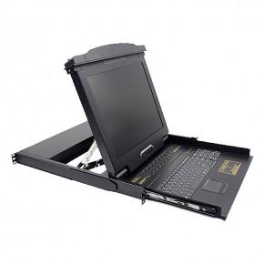 """Console Rackable Qwerty LCD 17"""" USB avec KVM 16 ports"""
