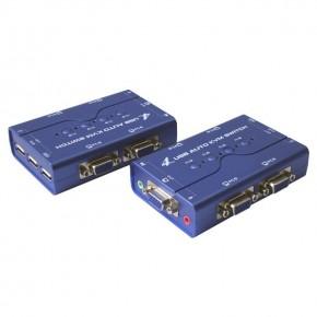 KVM 4 ports VGA + USB + Audio - Livré avec les câbles