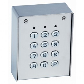 Clavier 2 relais, 60 codes, IP65, 12/24 Vcc/ca - boîtier et touches en métal