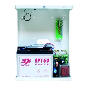 Alimentation 5A /24V en coffret métal pouvant revevoir 2 x batteries SP070 (2x 7Ah)