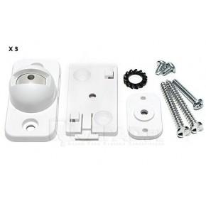Lot de 3 supports pivots compacts en plastique blanc