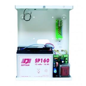 Alimentation 2A /12V en coffret métal  pouvant recevoir une batterie SP160 (16Ah) NF&A2P