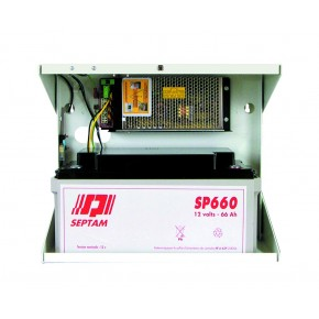 Alimentation 7A /12V en coffret métal pouvant recevoir 1 batterie SP660 ( 66Ah) - Dim : 325 x 390 x 225 mm