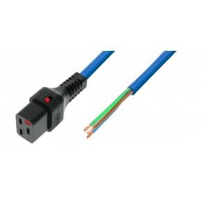 IEC Lock - Cordon secteur C19 / Dénudé - 3m Bleu