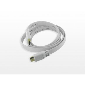 Cordon HDMI Plat 1.3 - Contact Or - M / M - 1,8 m - Blanc