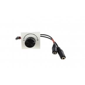 Plastron 45x45 Réglage volume audio 2x Jack 3,5mm F/F - AWG28 - 0,2m