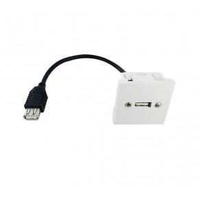 Plastron 45x45 USB2.0 A F vers F - 0,20m