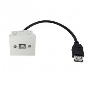 Plastron 45x45 USB B F vers USB A F – 0.2m (AWG28/24)