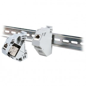 Adaptateur Keystone RJ45 support rail din PVC