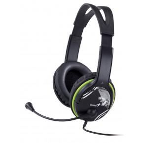 GENIUS - Micro Casque, noir et vert, écouteurs ajustables - EOL