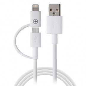 CABLE USB VERS MICRO USB + ADAPTATEUR LIGHTNING APPLE-1 MÈTRE