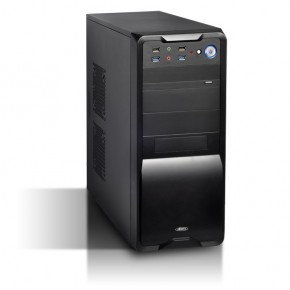 "Boitier ""BLACK BURST"" ATX Tower + Alim 480W 4xSata Front 4 USB3+2 HD"