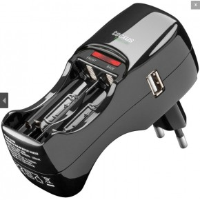 Chargeur TECXUS pour ACCUS AA et AAA x 4 + port USB (livré sans pile)