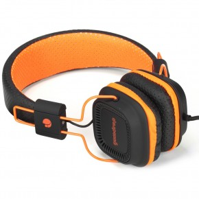 """Casque audio """"fluo"""" avec micro. Noir et orange"""