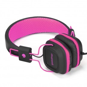 "Casque audio ""fluo"" avec micro. Noir et rose"