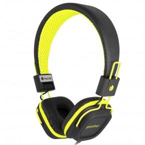"""Casque audio """"fluo"""" avec micro. Noir et jaune"""