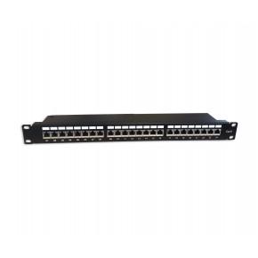 Panneau de brassage noir 19'' 1U 24 ports CAT6 FTP