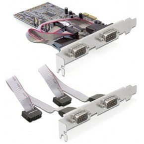 Carte PCI Express 4 ports Série + Equerres Low-Profile