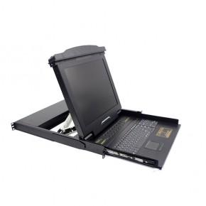 """Console Rackable Qwerty LCD 17"""" USB avec KVM 8 ports"""