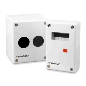 Dét optique lineaire conv motorisé autoalignable - émetteur + réflecteur courte portée + boitier de contrôle au sol